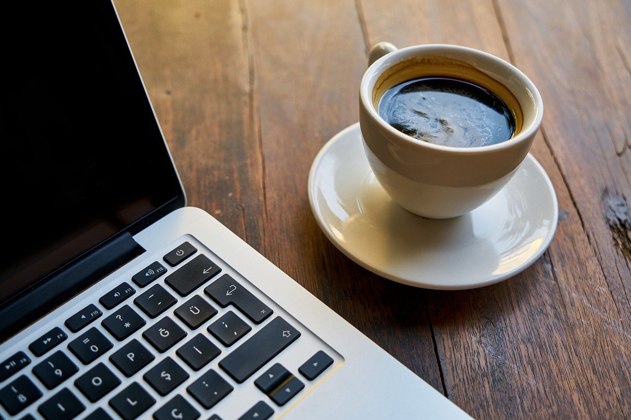 coffee, computer, the work
