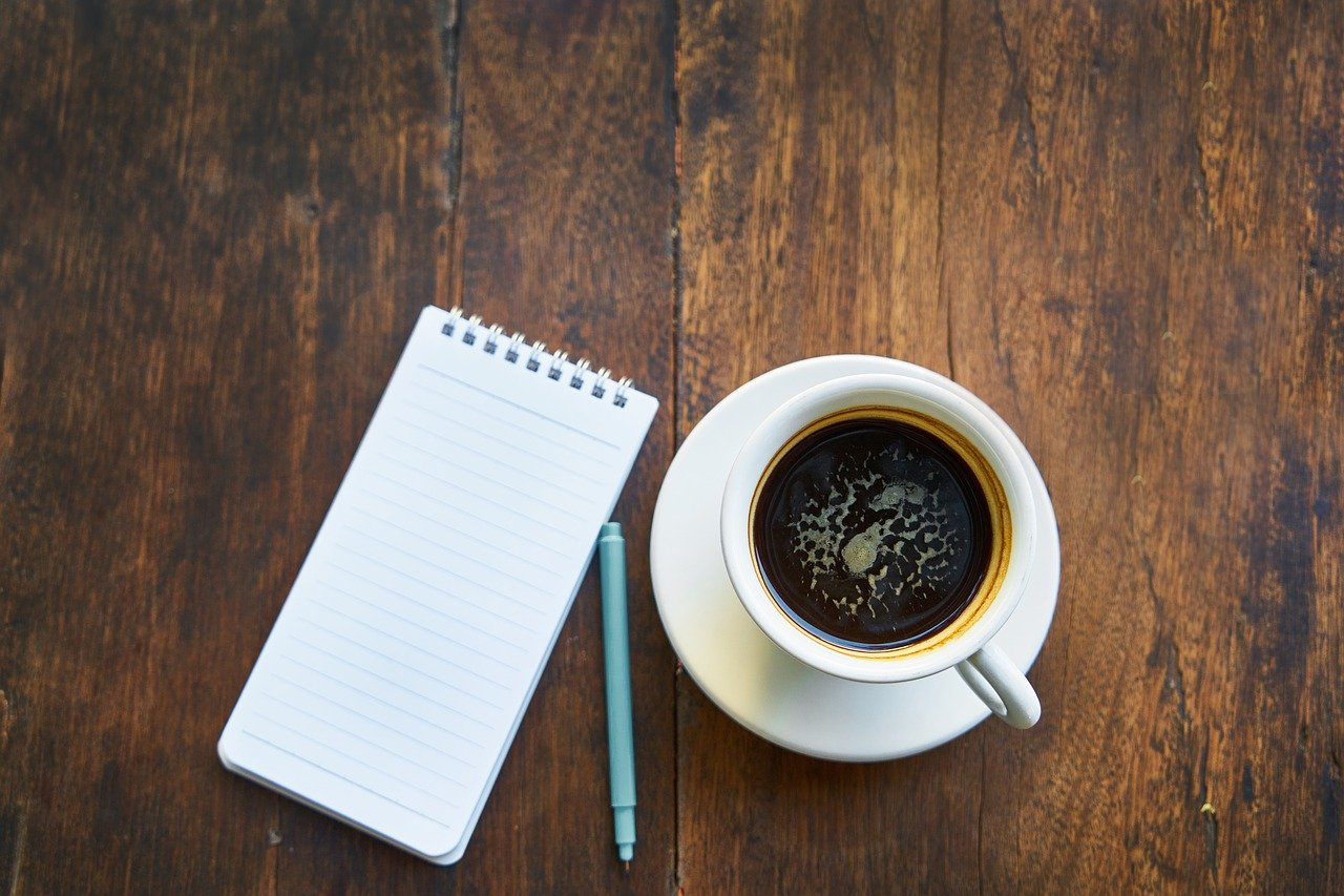 coffee, note book, cup